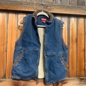 Vintage Sherpa Lined Zip Up Corduroy Denim Vest S
